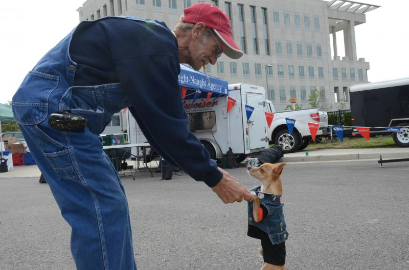 "Kary Scott shares a dance with his service dog, Cisco, at the ""Inside the Walls"" festival promoting the Missouri State Penitentiary as a tourist destination."