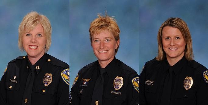From left: Administrative Support Captain Dianne Bernhard, Internal Affairs Lieutenant Shelley Jones and Public Relations Unit Sergeant Jill Schlude.
