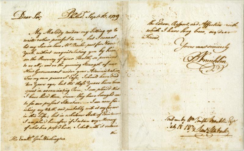 State Historical Society Manuscript Specialist Elizabeth Engel discovered this letter written by Benjamin Franklin to George Washington. Engel says she discovered the letter is a copy Franklin made.