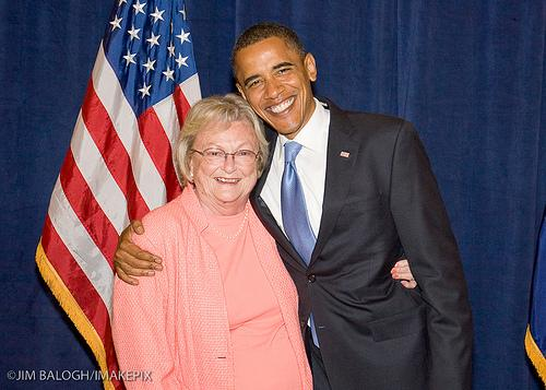 Betty McCaskill with President Barack Obama