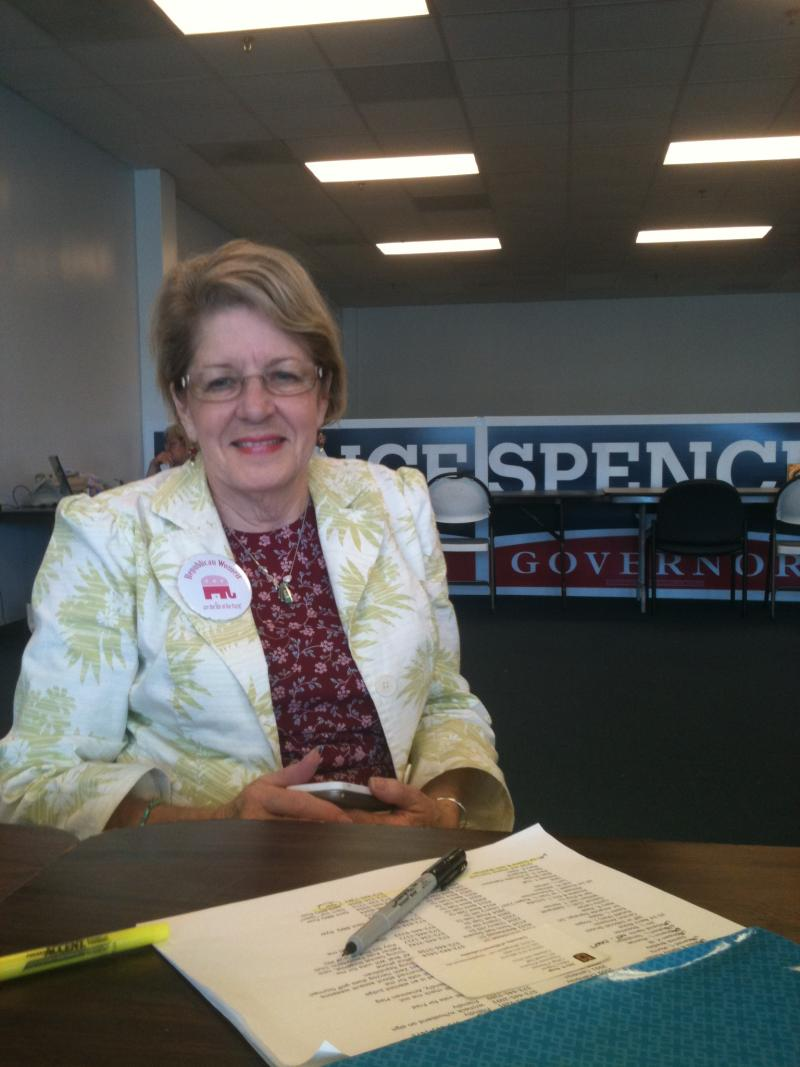 Sherry Berry makes calls for her husband's campaign.