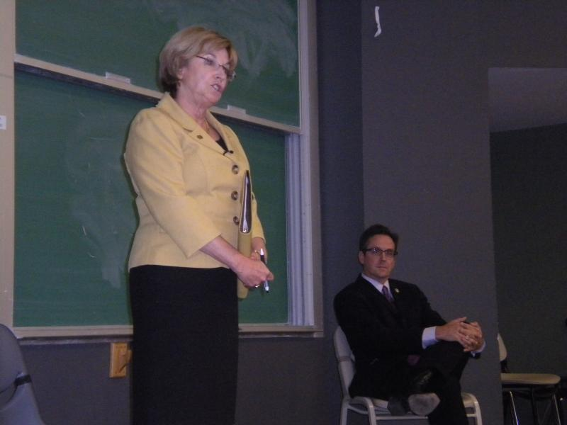 Rep. Mary Still and Sen. Kurt Schaefer debate on the University of Missouri campus on October 2, 2012
