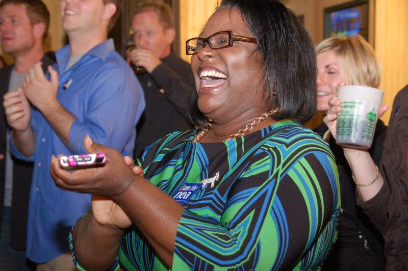 Democrat Monica Miller celebrates as she finds out President Barack Obama was re-elected. Columbia, Missouri.