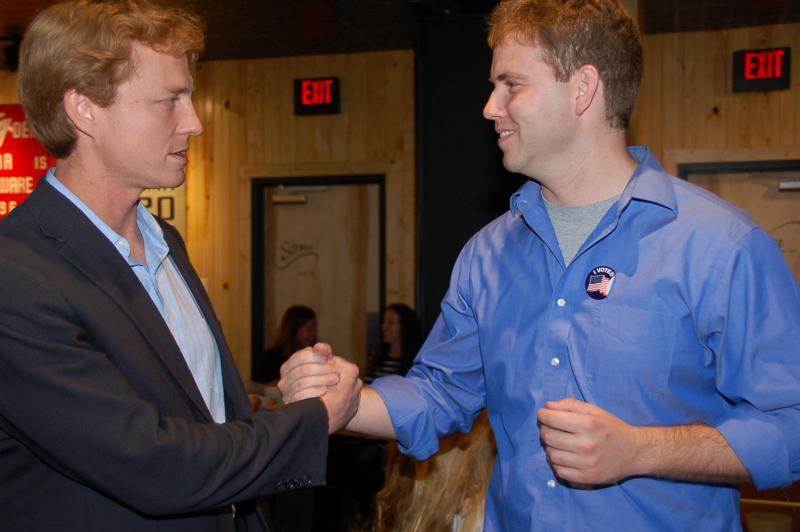 Victorious State Representative John Wright congratulates re-elected State Representative Stephen Webber. Columbia, Missouri.