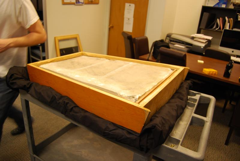 The grave marker has been housed in the attic of Jesse Hall for years.