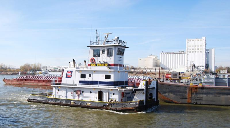One of the smaller tugs that pushes barges into rectangular units in harbors along the Mississippi.