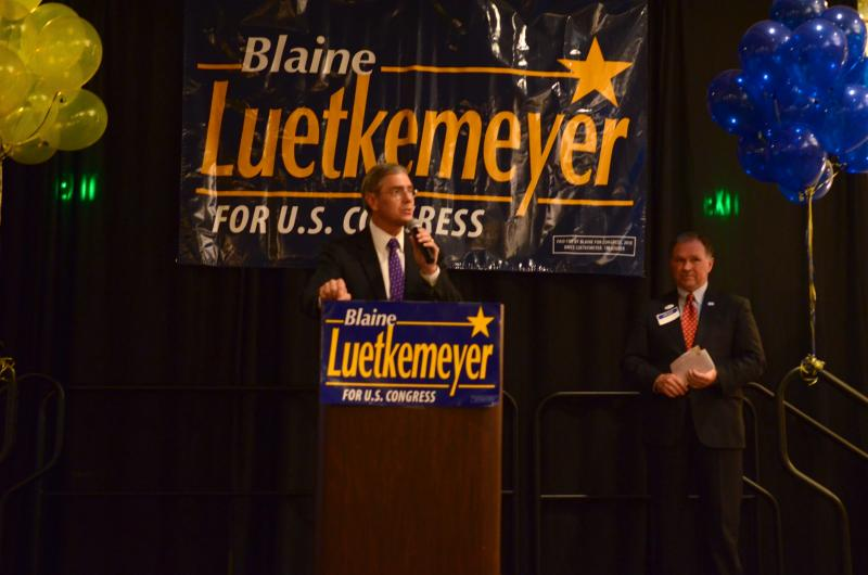 Rep. Blaine Luetkemeyer delivers his victory speechat his watch party in Jefferson City on November 6, 2012