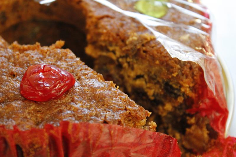 The taste of fruits, nuts, spices, burgundy wine and rum blend together in a moist fruitcake made by the Trappist monks at Assumption Abbey outside of Ava, Mo. The monks there have been making fruitcakes for 25 years.