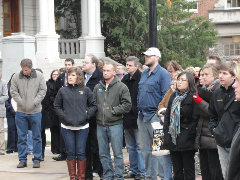 A memorial service for the victims of the Sandy Hook Elementary School shooting on the University of Missouri campus, December 17, 2012