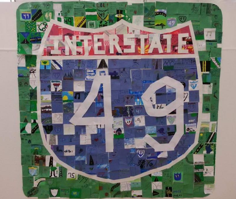 An I-49 mural made by students at Joplin East Middle School