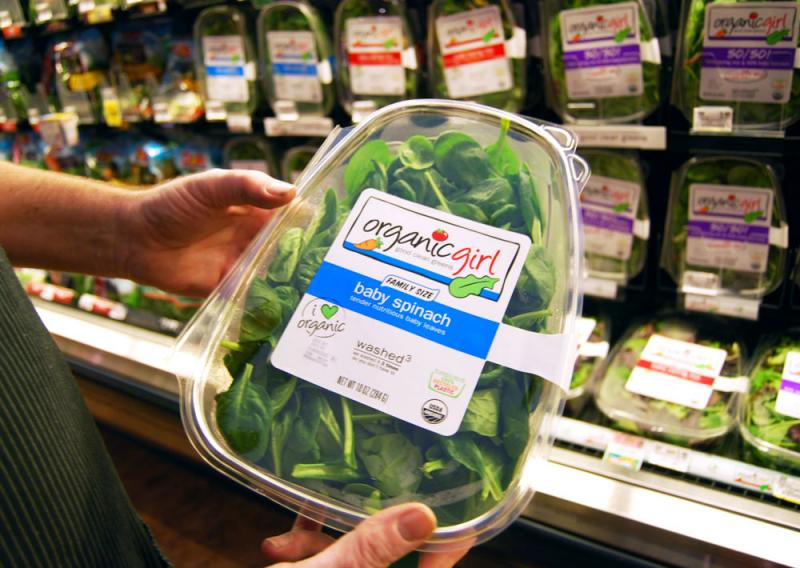 Schnuck's produce manager Dave Guthrie says the store only carried two kinds of this organicgirl product back in 1995. Now, due to customer demand, they carry eight varieties of the organic Salinas County, Calif. greens.