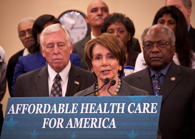 Speaker Nancy Pelosi speaking at the Affordable Health Care Act anniversary in March