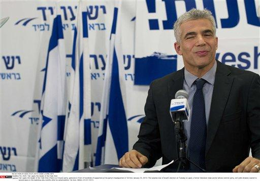 Yair Lapid, the leader of the centrist Yesh Atid party, gestures in front of hundreds of supporters at his party's headquarters in Tel Aviv.