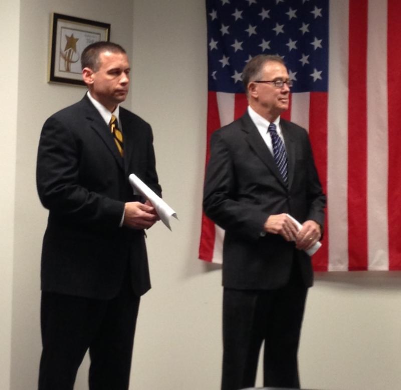 Chancellor Brady Deaton and MU Police Spokesperson Brian Weimer listen to the press conference Jan. 30, 2012.