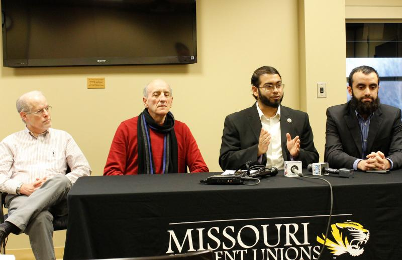 Bradford Boyd-Kennedy of the Fellowship of Reconciliation, Michael Ugarte of MU's romance languages department, Faizan Syed of CAIR and Aamer Trambu of the Muslim Student Organization gave a news conference against the possible hire of Larry James.
