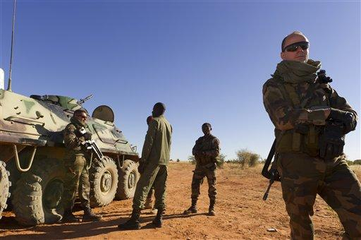 French soldiers patrol with units of the Malian army in Sévaré, Mali.