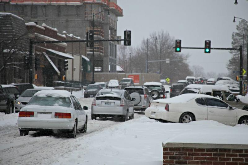 Traffic backs up on Broadway as people try to leave downtown Columbia Thursday afternoon.