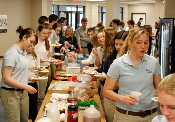 Students, faculty and staff of Fr. Tolton Catholic High School threw a pope party on March 14, the day after Pope Francis was elected.