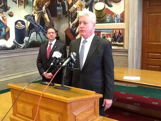 Mo. Lt. Gov. Peter Kinder (R) speaks in support of a lawsuit filed against the state, in which a man seeking a conceal carry permit says he was told his application and documents had to be digitally scanned and stored by the state.
