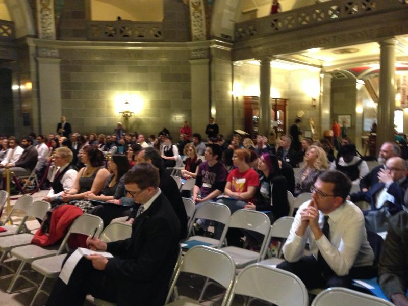 Dozens attended the Equality Day rally at the statehouse Wednesday