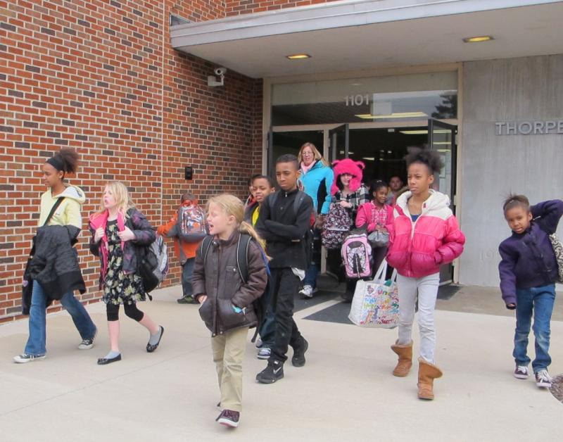 Students get out of school at Thorne Elementary School in Jefferson City Public Schools at 3:30 p.m. on March 21, 2013.