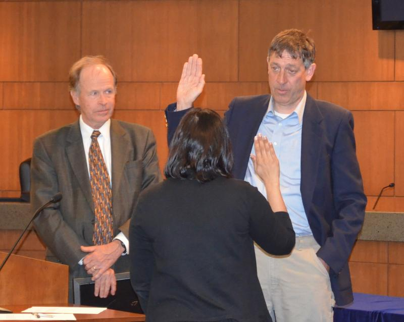 Fourth Ward council member Ian Thomas is sworn in during a special Columbia City Council meeting on April 8, 2013.