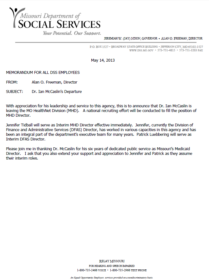 The Missouri Department of Social Services issued this memo Tuesday, announcing the departure of Dr. Ian McCaslin as state Medicaid director.
