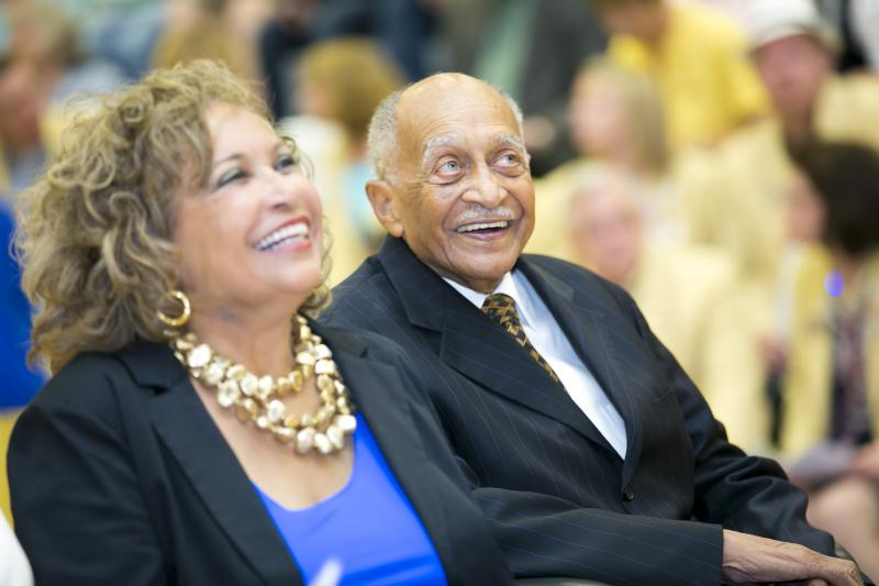 Photo credit: Eliot Battle and his daughter Muriel Jean Battle Browder at the dedication of Battle High School on June 3, 2013.