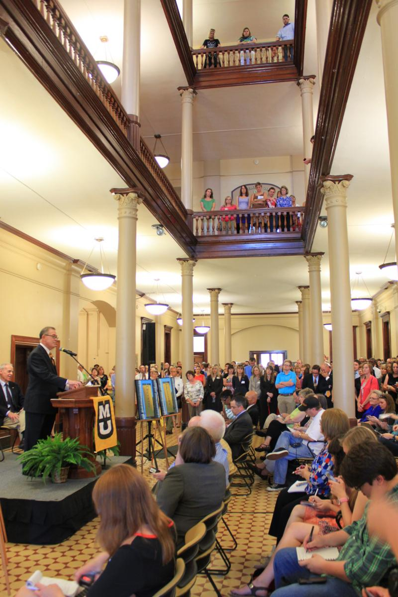 Scores of people packed into Jesse Hall for Deaton's announcement. June 12, 2013