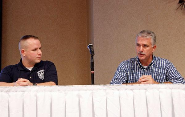 Patrick Corcoran and Bryan Liebhart answer community members' questions at the forum. Corcoran is part of the Columbia Police Officers Association, and Liebhart is a retired police officer. They were two of the four panelists who spoke alongside the direc
