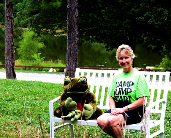 Jean Huelsing is the founder of Camp Jump Start. She likes the symbol of the frog because just like the frog goes through metamorphosis, the campers go through a type of metamorphosis while they are at camp.