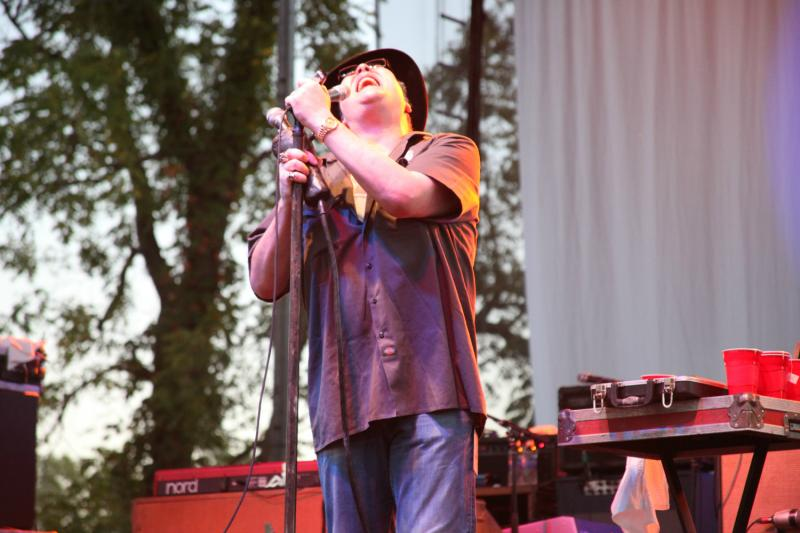 "John Popper belts out his infamous notes to ""Run Around"" during the Blues Traveler set."
