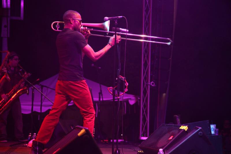 Trombone Shorty, aka Troy Andrews, got the crowd worked up with some Lousiana-style music.