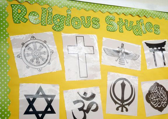 This religious studies bulletin board was displayed in Greg Irwin's classroom at Rock Bridge High School early this fall. Irwin has taught at Rock Bridge for eight years, and this is the first year the school has offered a world religions course.