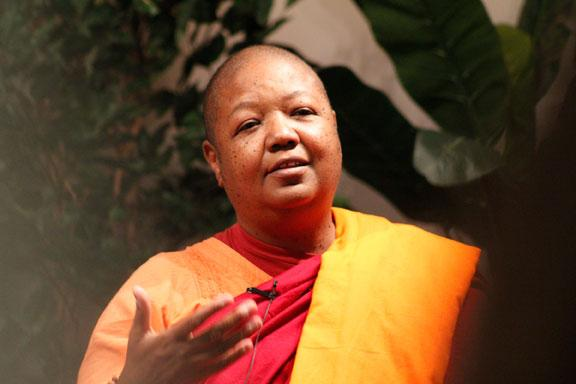 The Venerable Pannavati Bhikkhuni, a Buddhist nun known for her humanitarian efforts, delivered the annual Schiffman Lecture in Religious Studies at Columbia College on Oct. 8, 2013.