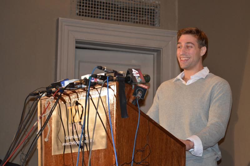 Ryan Ferguson talks to the crowd at the Tiger Hotel on Nov. 12, 2013 in Columbia, Mo.