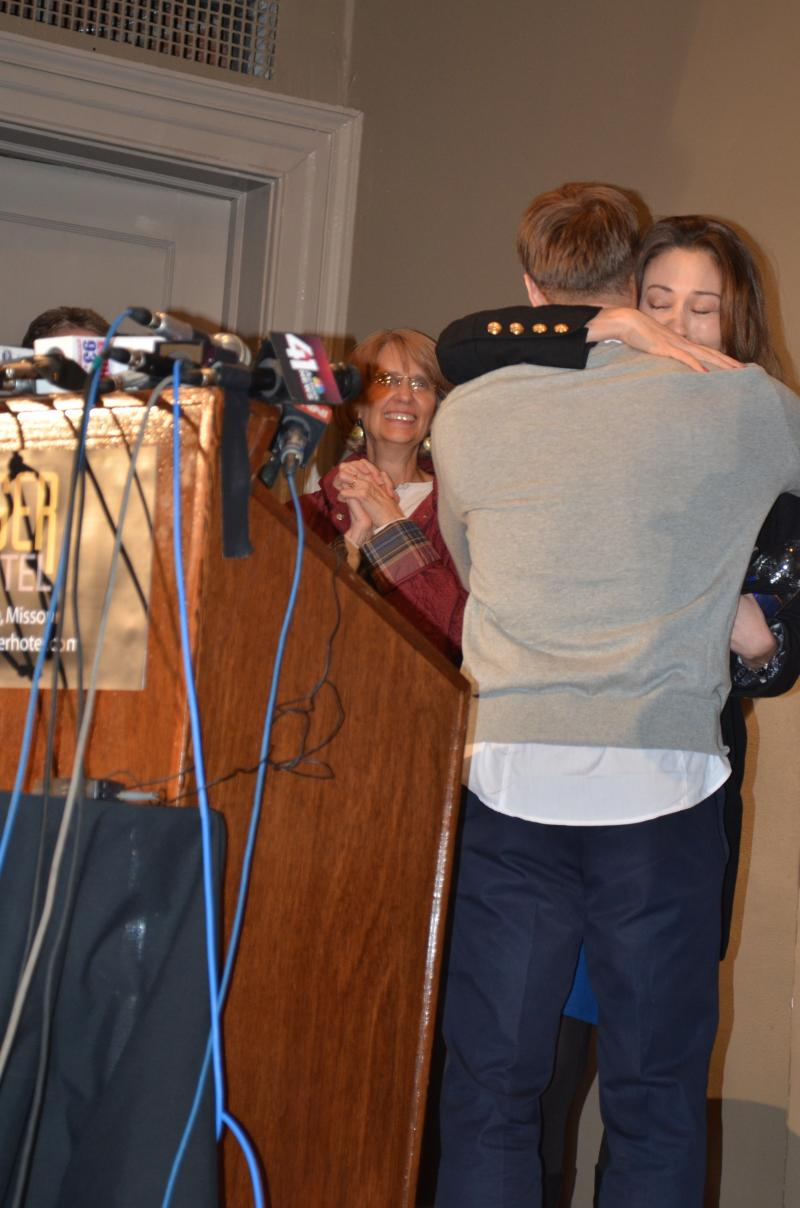 Ryan Ferguson hugs his sister for the first time since being released from prison.  She arrived late to the news conference on Nov. 12, 2013.