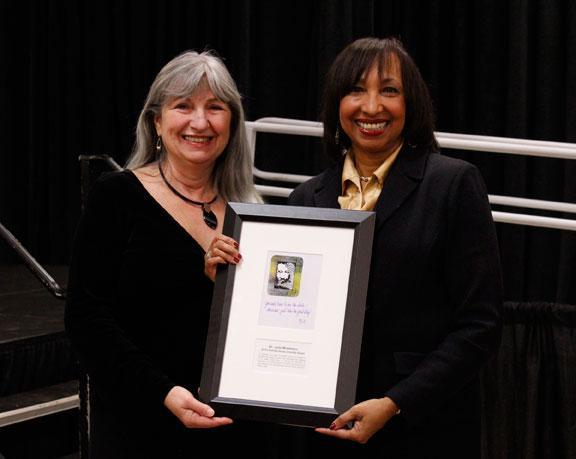 Mayor Pro Tem Barbara Hoppe poses for a picture with Julie Middleton, the individual winner of the 2014 Columbia Values Diversity Award.
