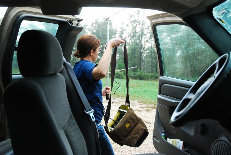 Barbara Keller tracks elk calves using VHF technology.