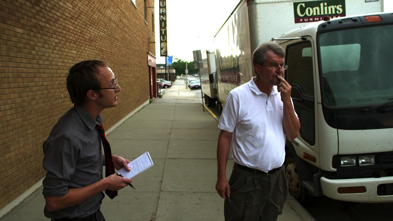 Pastor Jay Reinke is interviewed by the local newspaper.