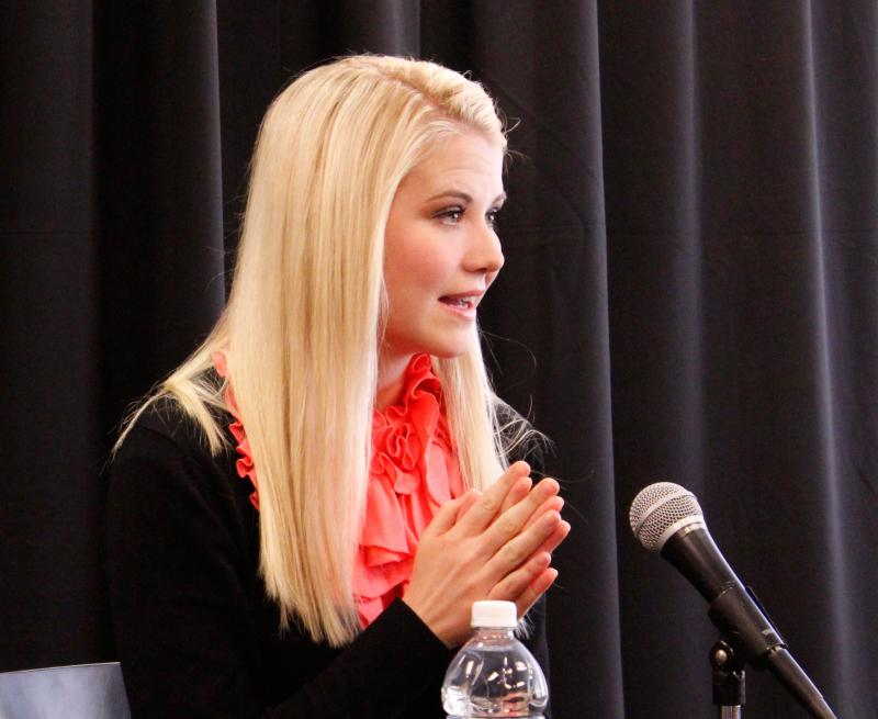 Elizabeth Smart speaks at a press conference on Friday, March 14, 2014. Smart was abducted from her home in Utah at the age of 14, and now does advocacy work.