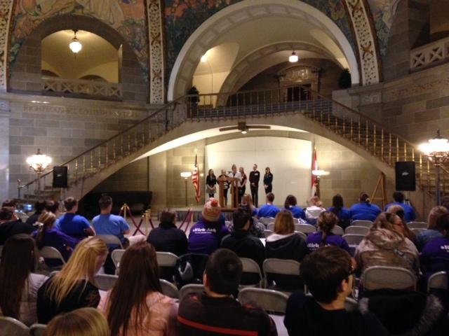 Missouri students attend a capitol day event organizaed by the Tobacco Free Missouri Youth Advisory Board