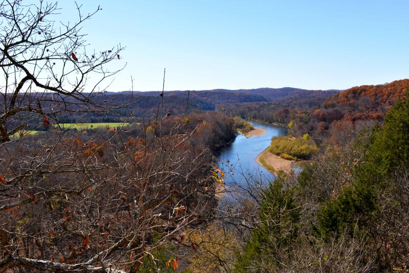 A view overlooking the Current River in autumn 2013  from Phil and Charlotte Moss' private easement in the Ozark National Scenic Riverways.
