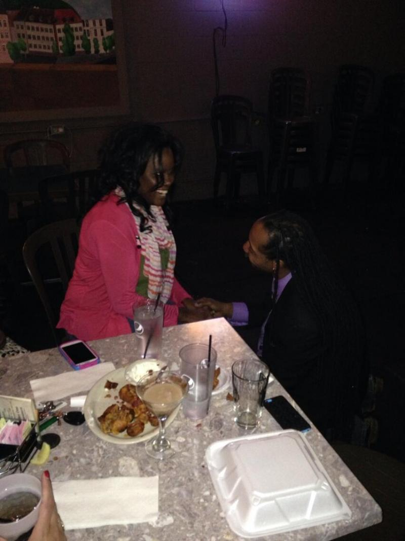 Tyree Byndom proposes  while awaiting results