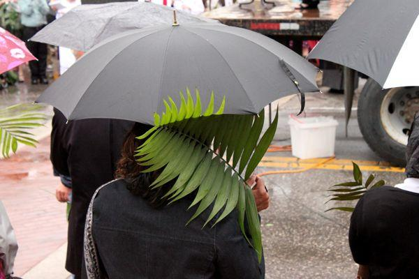 The rain drizzled off and on during the ecumenical Palm Sunday service in downtown Columbia on April 13, 2014.