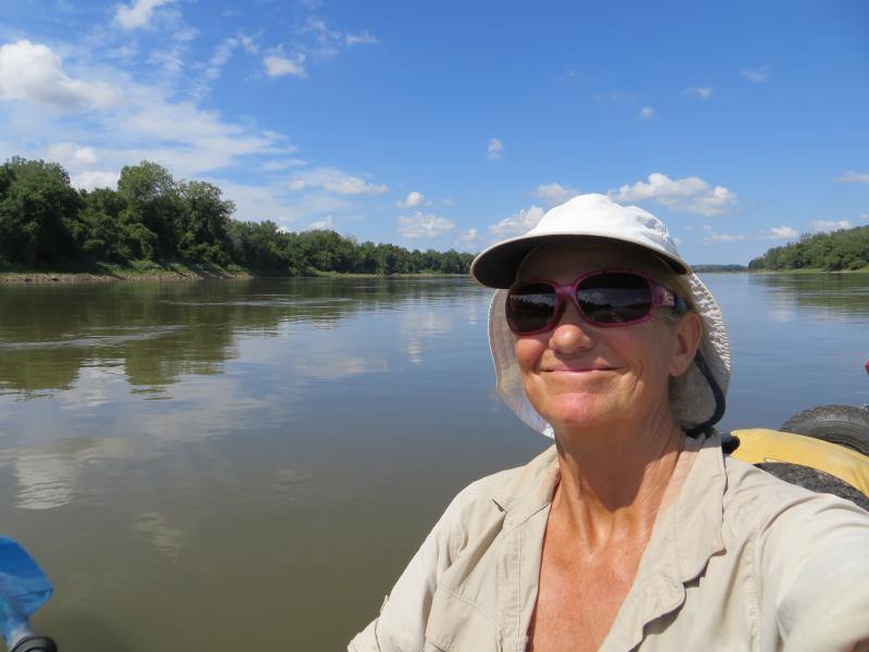 Janet Moreland somewhere on the Missouri River