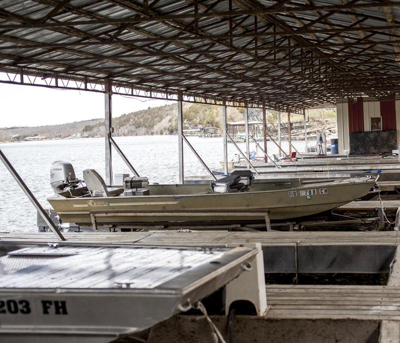 Boats docked on Truman Lake