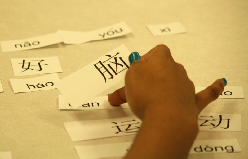Students play a matching game at Lange Middle School in Columbia, Mo. They work to match Chinese characters and words to form complete sentences.