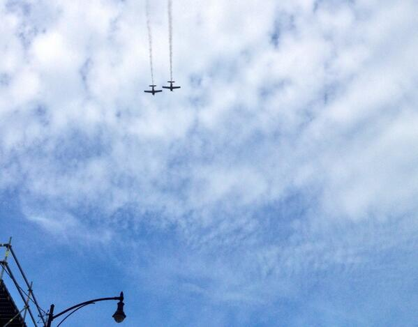 A flyover during the Salute to Veterans Memorial Day Parade in Columbia, Mo. May 26, 2014.