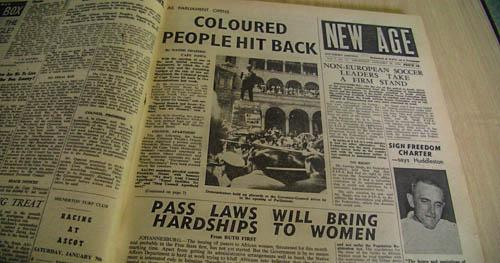 The front page of The New Age, a newspaper that became a leading voice against apartheid, is shown at the Mayibuye Archives at the University of Western Cape, in Cape Town. The goal of a joint MU-UWC effort is to help digitize the aging archives to ensure